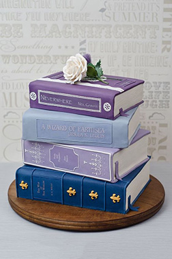 Cool Colored Book Stack Graduation Cake