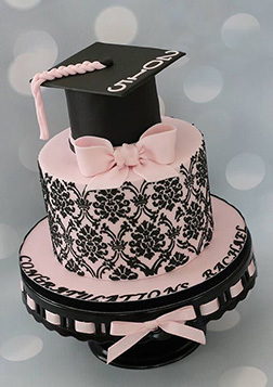 Sealed with a Pink Bow Graduation Cake