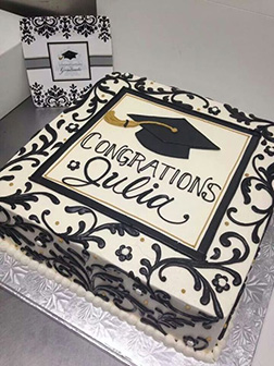 Black and White Celebration Graduation Cake