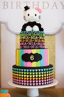 Neon Rainbow Hello Kitty Cake