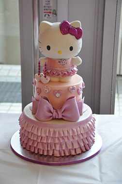 Pink Bow Stack Hello Kitty Cake