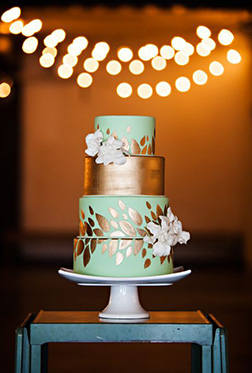 Mint and Gold Tiered Wedding Cake