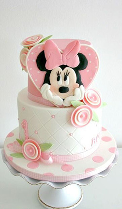 Pastel Minnie Mouse Birthday Cake