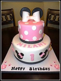 Pink Minimalist Minnie Mouse Cake