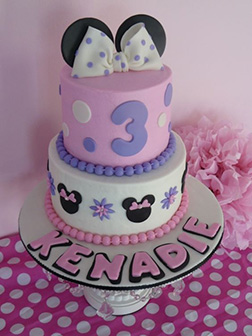 Lavender and Pink Minnie Mouse Cake