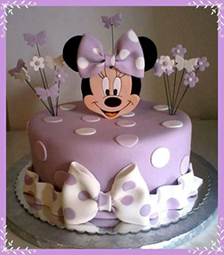 Lavender Polka Dots Minnie Mouse Cake