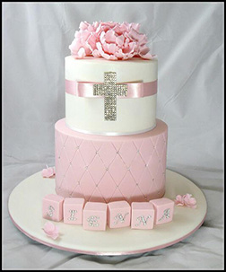Pink and White Floral Christening Cake