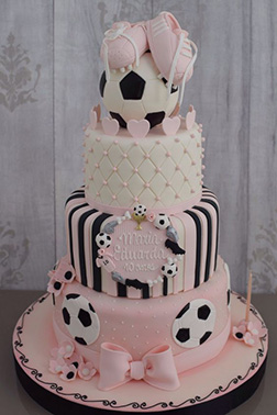 Pretty in Pink Soccer Cake