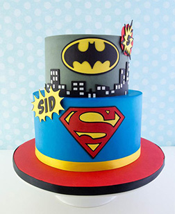 Batman vs Superman Tiered Cake