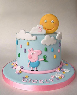 George  Pig in the Rain Theme Cake