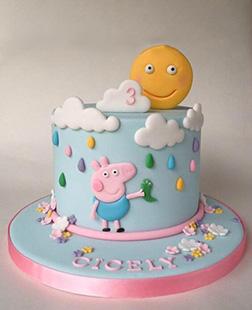 George  Pig in the Rain Theme Cake