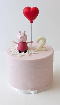 Peppa Pig with a heart  Balloon Birthday Cake