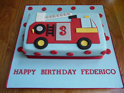 2D Fire Engine Sheet Cake