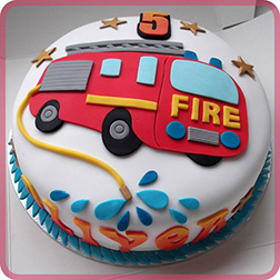 2D Fire Engine Star Cake