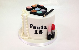 Makeup and Pearl Necklace Cake