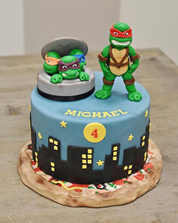 Angry Ninja Turtles Figurine Cake
