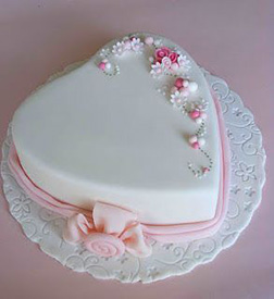 Blossoms and Bow Heart Shaped Cake
