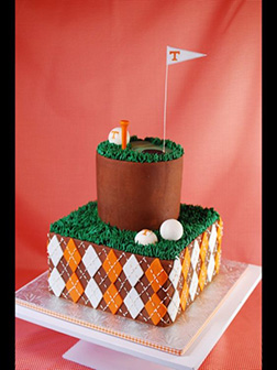 Golf Balls on Golf Course Tiered Cake