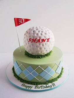 3D Golf Ball on Golf Course Cake