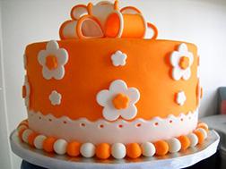 Orange Floral Bow Cake