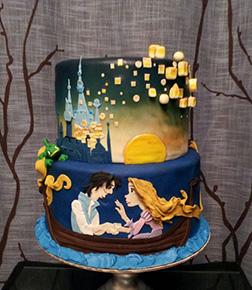 Tangled Lantern Lit Night Tiered Cake