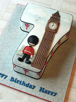 London Themed Number Cake
