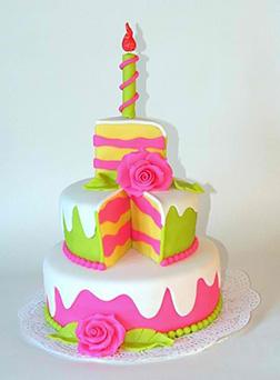 Slice Of Rosy Joy Birthday Cake