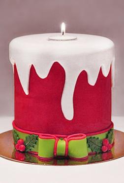 Christmas Carollers Candle Cake