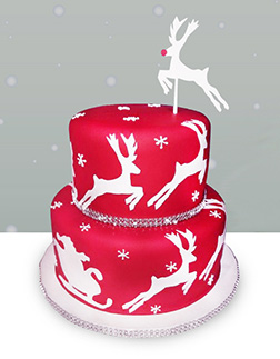 Santa's Flying Sleigh Tiered Cake
