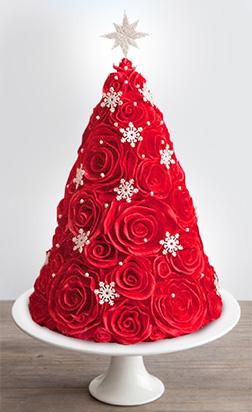 Red Rosette Christmas Tree Cake
