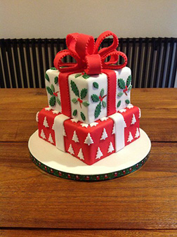 Under the Christmas Tree Gift Box Cake