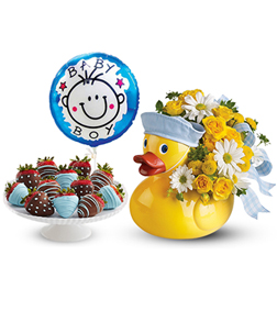 Baby Boy Duckie Bundle with Balloon and Strawberries