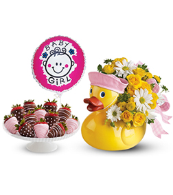 Baby Girl Duckie Bundle with Balloon and Strawberries