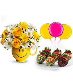 Be Happy Birthday Surprise Bundle: Flowers, Strawberries and Balloons