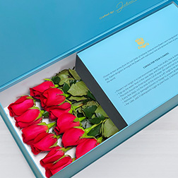Always Yours - Long Stem Red Roses in Blue Box