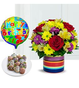 Cheerful Birthday Bouquet, Strawberries  and Balloon Bundle
