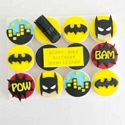 Batman Comics Birthday Cupcakes