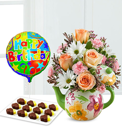 Birthday Teapot Blooms, Pineapple & Balloon Bundle