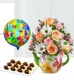 Birthday Teapot Blooms, Pineapple & Balloon Bundle