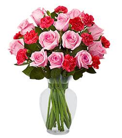 Pink Roses & Mini Carnations