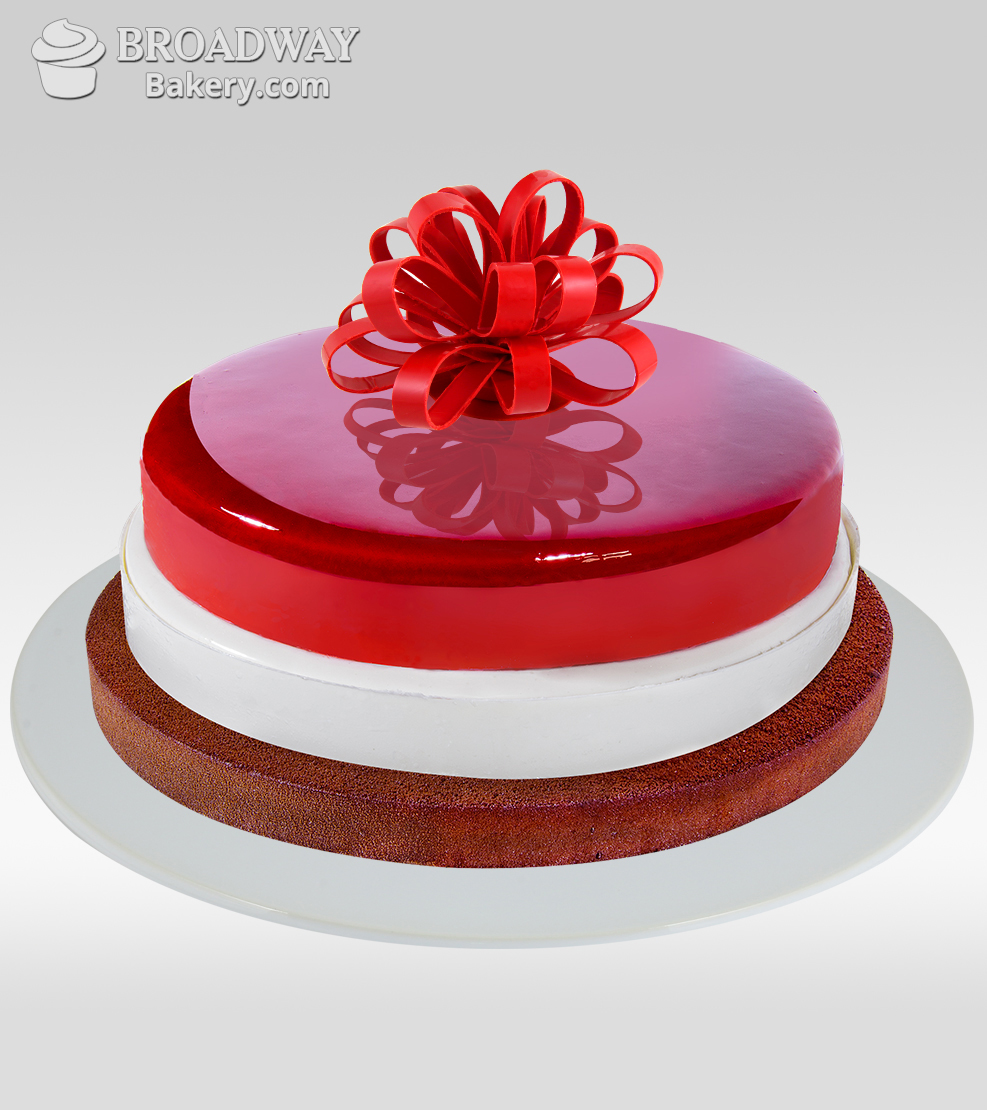 RASPBERRY, WHITE AND DARK CHOCOLATE 3-TIERED MIRROR CAKE