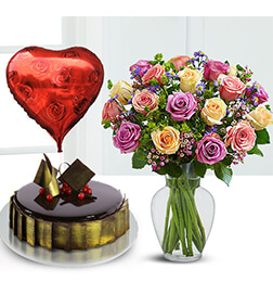 Rose Lovers Bundle with Flowers,  Cake and Balloons