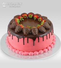Oh So Pretty Strawberry Chocolate Cake - 1Kg