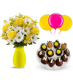 Sunny Sentiments Surprise with Flowers, Strawberries and Balloons