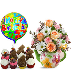 Teapot full of Blooms Birthday Bundle