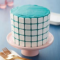 White Tile Teal Cake