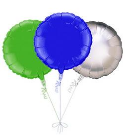 Balloon Bouquet: 3 Balloons (Blue, Green, Silver)