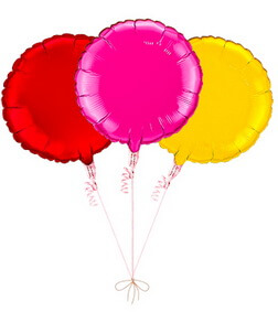 Balloon Bouquet: 3 Balloons (Red, Pink, Gold)