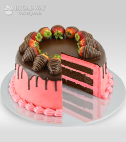 Oh So Pretty Strawberry Chocolate Cake - 1/2kg