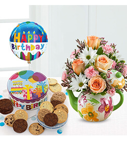Birthday Teapot Blooms, Cookies &  Balloon Bundle